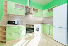 Photo of the light kitchen room royalty free stock image