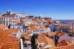 Alfama district in Lisbon Portugal. Photo of Lisbon, Portugal, and the Alfama district under a clear sky royalty free stock photography