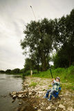 Photo of little boy fishing royalty free stock photos