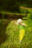 Photo of little boy fishing. Photo of little cute boy fishing Royalty Free Stock Photography