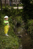 Photo of little boy fishing. Photo of little cute boy fishing on river Stock Images