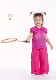 Photo of little girl playing badminton Royalty Free Stock Photography