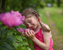 A photo of a little girl smelling big bright flowers with her eyes closed. A beatiful and peaceful photo of a little girl smelling big bright flowers with her royalty free stock photo