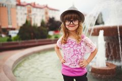 Little hipster girl with big glasses Stock Photography