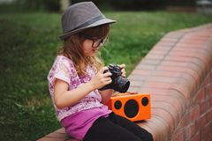 Little hipster girl with big glasses Stock Image