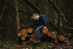 Photo of little sweet lumberjack. In autumn forest Royalty Free Stock Image