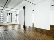 Photo loft expo interior in modern building.Open space studio.Empty white canvas hanging.Wood floor, bricks wall Stock Photography