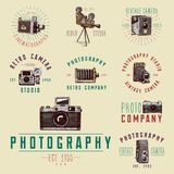 Photo logo emblem or label, video, film, movie camera. Photo logo emblem or label, video, film, movie camera from first till now vintage, engraved hand drawn Royalty Free Stock Photos