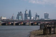 Photo of London skyline showing buildings at 20 Fenchurch Street `Walkie Talkie Building` and 122 Leadenhall Street. Photo of London skyline taken on a hazy Royalty Free Stock Photo