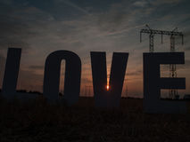 Photo love letters on sunset background Royalty Free Stock Photography