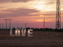 Photo love letters on sunset background Royalty Free Stock Images