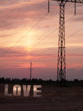 Photo love letters on sunset background Royalty Free Stock Photos