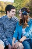 Photo loving couple on the lake. Boating on the lake loving couple Royalty Free Stock Photo