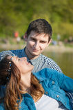Photo loving couple on the lake. Boating on the lake loving couple Royalty Free Stock Photography