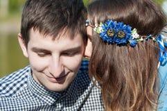 Photo loving couple on the lake Royalty Free Stock Photo