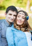 Photo loving couple on the lake. Boating on the lake loving couple Royalty Free Stock Images