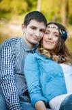 Photo loving couple on the lake Stock Photography