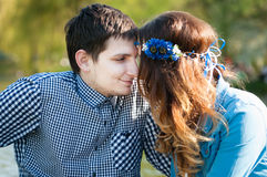 Photo loving couple on the lake Stock Photo
