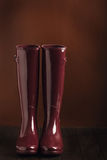 Photo in low key. Rubber boots burgundy color on a brown backgro Stock Photography