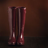 Photo in low key. Rubber boots burgundy color on a brown backgro Royalty Free Stock Image