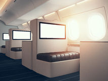 Photo of luxury airplane interior. Blank digital panels holding. Empty space. Horizontal mockup. 3d render Stock Images
