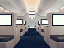 Photo of luxury airplane interior, first class. Blank digital panels holding. Empty space. Horizontal mockup. 3d render. Photo of luxury airplane interior, first Royalty Free Stock Photo