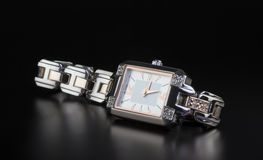 Photo luxury woman's watch on black Royalty Free Stock Photography