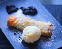 Photo macro of blueberry pie and ice cream. Macro photo of bright blueberry pie and ice cream on a dark plate royalty free stock images