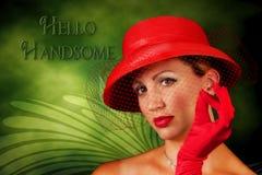 Photo/Madame graphique de Red Hat de cru illustration stock