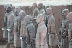 Photo made in China. XIAN, CHINA -12 APRIL 2012- View of the Terracotta Army (Soldier and horse funerary statues), a collection o royalty free stock image