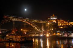 Night view of the Eifel`s Dom Luis I Bridge in Porto, Portugal stock photo