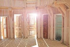 Photo made summer. Many open doors in the art park Nikola-Lenive stock photography