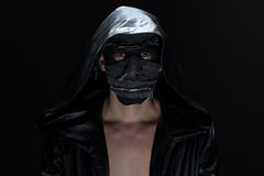 Photo of the madman in handmade mask Royalty Free Stock Image