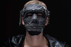 Photo of madman in handmade mask Royalty Free Stock Photography