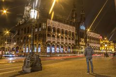 Amsterdam by night. This is a photo of the magna Plaza mall in Amsterdam royalty free stock photos