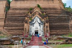 Mingun, Myanmar (Burma. Photo of the main entrance to Mingun Pahtodawgyi, the biggest buddhist temple in the city of Mingun stock photography