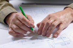 Male hands in the drawings Royalty Free Stock Photography