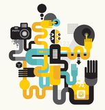 Photo man. Abstract vector illustration of photographer monster Royalty Free Stock Photo