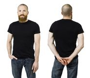 Man with beard and blank black shirt. Photo of a man with a beard and wearing a blank black t-shirt, front and back. Ready for your design or artwork Royalty Free Stock Photography