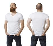 Man with beard and blank white shirt. Photo of a man with a beard and wearing a blank white t-shirt, front and back. Ready for your design or artwork Royalty Free Stock Images