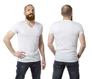 Man with beard wearing blank white shirt. Photo of a man with a beard and wearing a blank white t-shirt, front and back. Ready for your design or artwork Royalty Free Stock Image