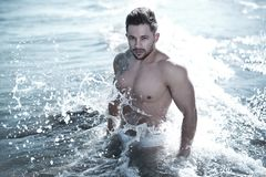 Photo of Man in Body of Water Wearing White Brief Royalty Free Stock Images