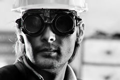 Photo of a man in helmet and goggles Stock Photo