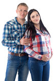 Photo of man and pregnant woman in plaid shirts Stock Photography