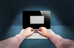 Photo of man receiving e-mail on laptop Royalty Free Stock Images
