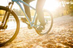 Photo of man riding bicycle. On summer day Stock Photo