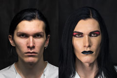 Photo of man's make up. Before and after stock photos