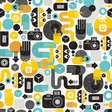Photo man seamless background. Abstract vector pattern with photographer monster stock illustration