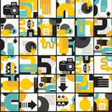 Photo man seamless pattern. Abstract vector illustration of photographer monster Stock Images