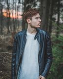 Photo of a Man Wearing Black Leather Jacket Royalty Free Stock Photo